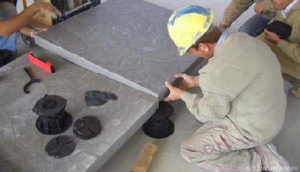 Buzon Pedestals In Art Museum Terrace With Granite Slabs